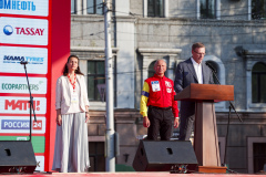 Pre-podium speech during the Silk Way Rally 2021's start podium ceremony in Omsk, Russia on July 1, 2021 - Photo Frédéric Le Floc'h / DPPI