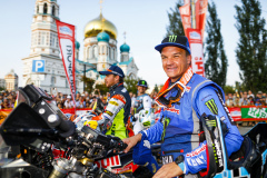 Branch Ross (bwa), Monster Yamaha Rally Official, Yamaha 450 WRF, portrait during the Silk Way Rally 2021's start podium ceremony in Omsk, Russia on July 1, 2021 - Photo Frédéric Le Floc'h / DPPI