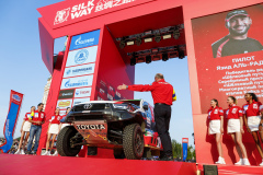 200 Al-Rajhi Yazeed (sau), Orr Michael (gbr), Overdrive Racing, Toyota Hilux, action during the Silk Way Rally 2021's start podium ceremony in Omsk, Russia on July 1, 2021 - Photo Frédéric Le Floc'h / DPPI