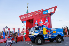 500 Shibalov Anton (rus), Nikitin Dmitrii (rus), Tatarinov Ivan (rus), Kamaz-Master Team, Kamaz 43509, action during the Silk Way Rally 2021's start podium ceremony in Omsk, Russia on July 1, 2021 - Photo Frédéric Le Floc'h / DPPI