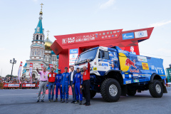 504 Nikolaev Eduard (rus), Iakovlev Evgenii (rus), Romanov Iskander (rus), Kamaz-Master Team, Kamaz 43509, action during the Silk Way Rally 2021's start podium ceremony in Omsk, Russia on July 1, 2021 - Photo Frédéric Le Floc'h / DPPI